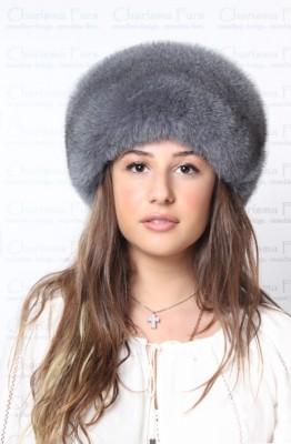 Blue Fox Fur Hat – Dyed Grey  ed37162ab9a